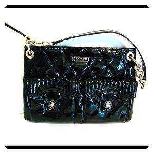 Coach Poppy Liquid Gloss Black Patent Shoulder Bag